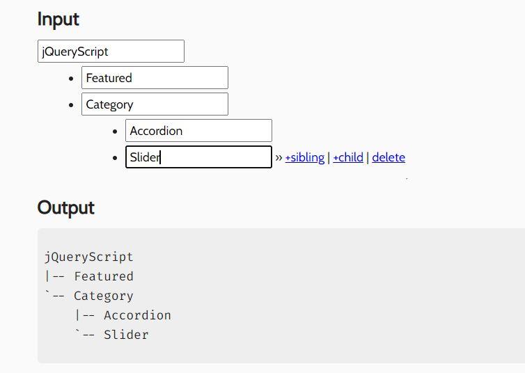 ASCII Folder Tree Generator In jQuery - Tree Builder