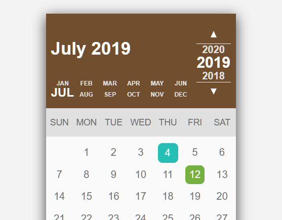 Elegant Calendar & Date Selector In jQuery - Calender.js