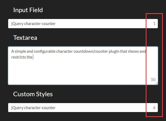 Character Countdown In The Text Field - jQuery character-counter.js