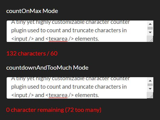 Count Characters In Text Fields - jQuery charcounter.js