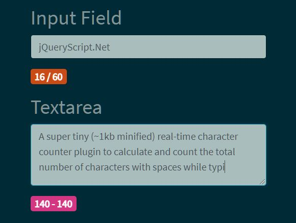 Real-time Character Counter With Spaces - jQuery charCounter.js