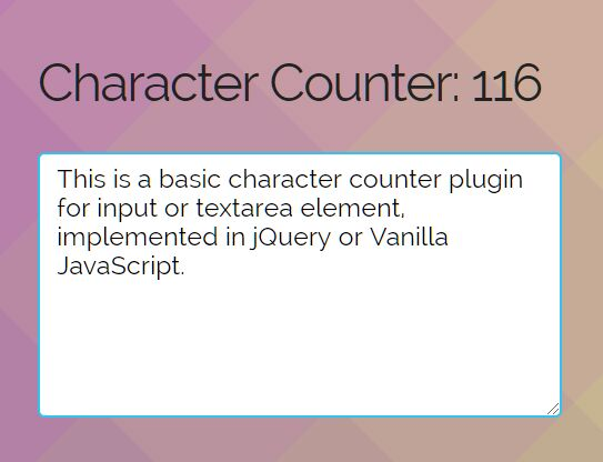 Minimalist Character Counter For jQuery & Vanilla JavaScript
