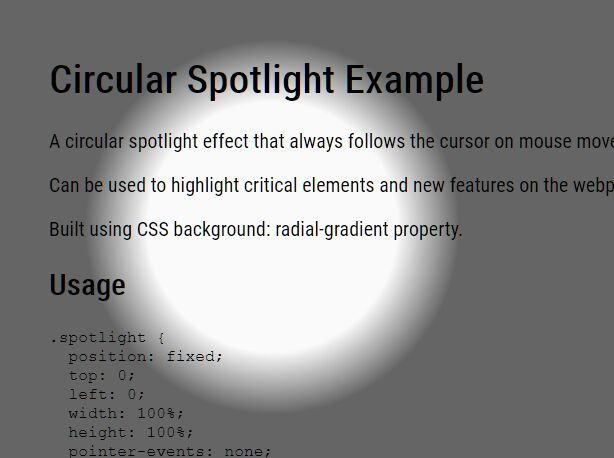 Circular Spotlight In jQuery And CSS3
