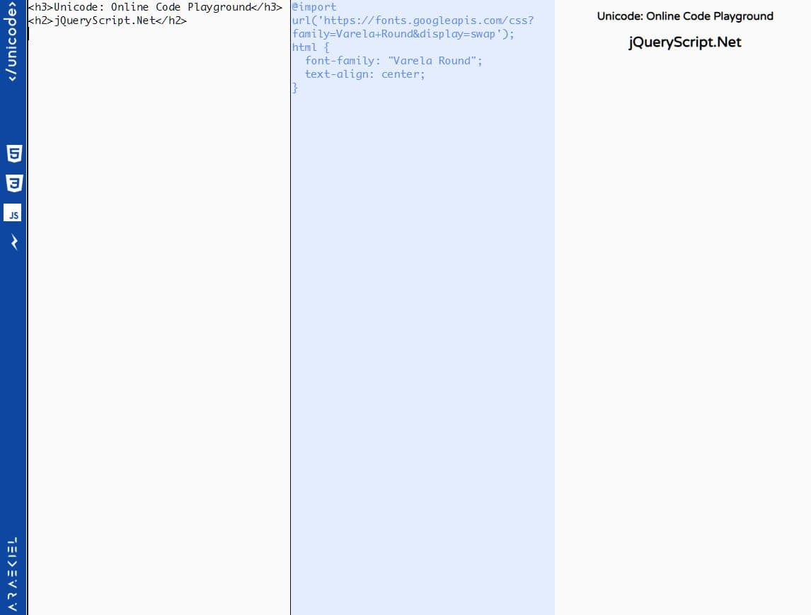 Simple HTML/CSS/JavaScript Code Playground In jQuery - Unicode