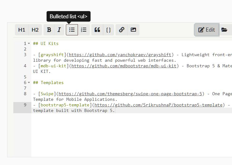 Markdown Editor For Bootstrap - jQuery codeparlMarkdown