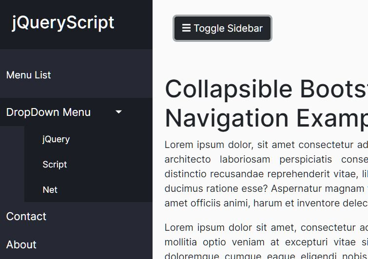 Collapsible Sidebar Navigation Using Bootstrap 4
