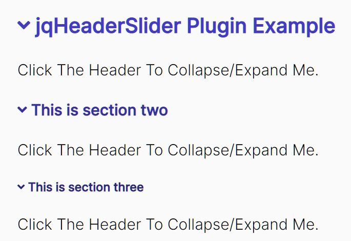 Create Collapsible Content By Heading - jqHeaderSlider