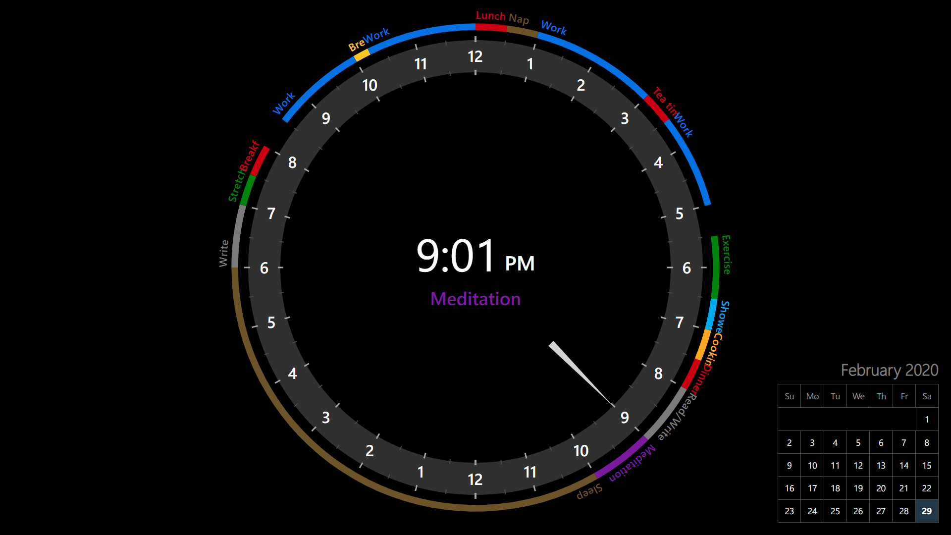 24-hour Analog Clock With daily routines