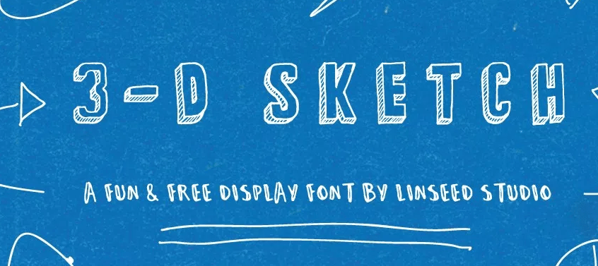 3-D Sketch Free Display Font