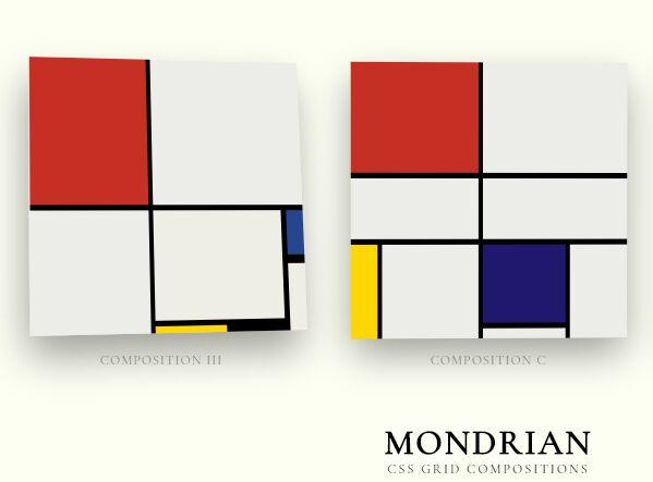 3D CSS Grid Mondrian Compositions