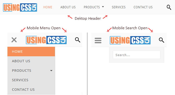 Attractive fully responsive menu using css3