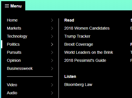Bloomberg dropdown menu