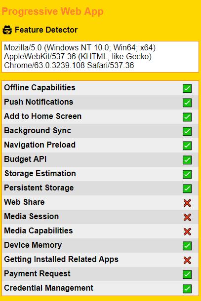 Progressive Web App Feature Detector
