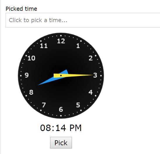 Realtime Analog Clock/Timepicker