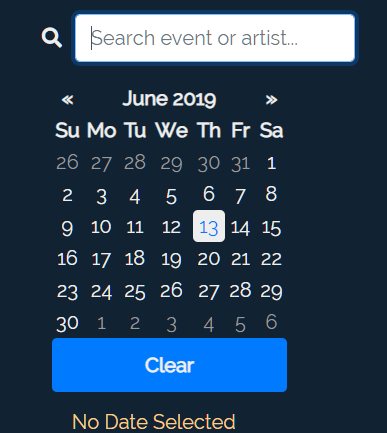 Shows & Events Search Filter