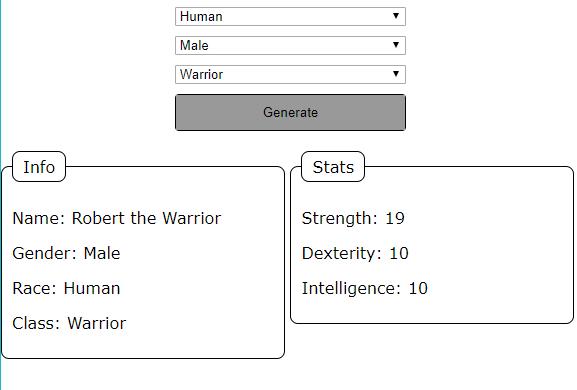 Simple character generator