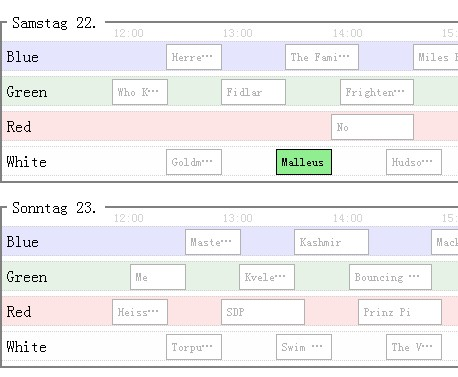 jQuery Festival Timetable Plugin