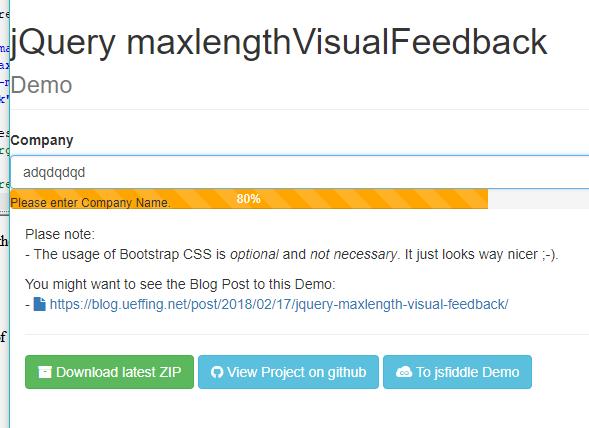 jQuery maxlengthVisualFeedback