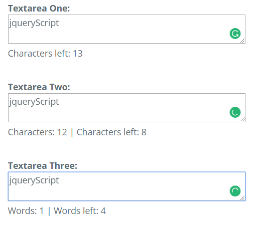 jQuery textCounting