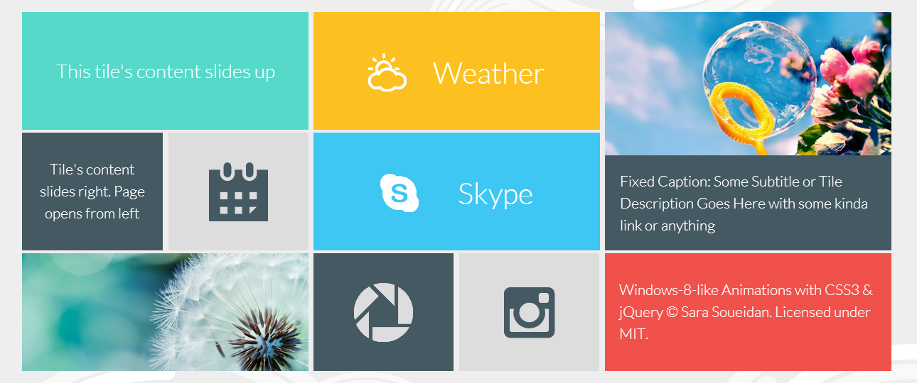 jQuery windows8 animations