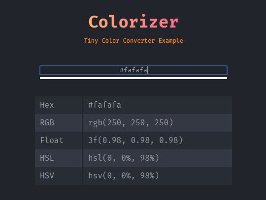 A Tiny Color Converter With jQuery - Colorizer