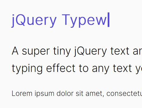 Configurable Text Typing Effect - jQuery Typewriter.js