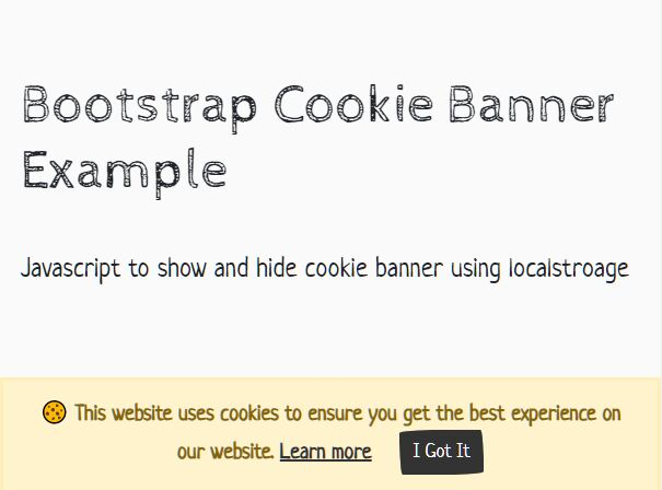 Show And Hide Cookie Consent Banner Using localstorage