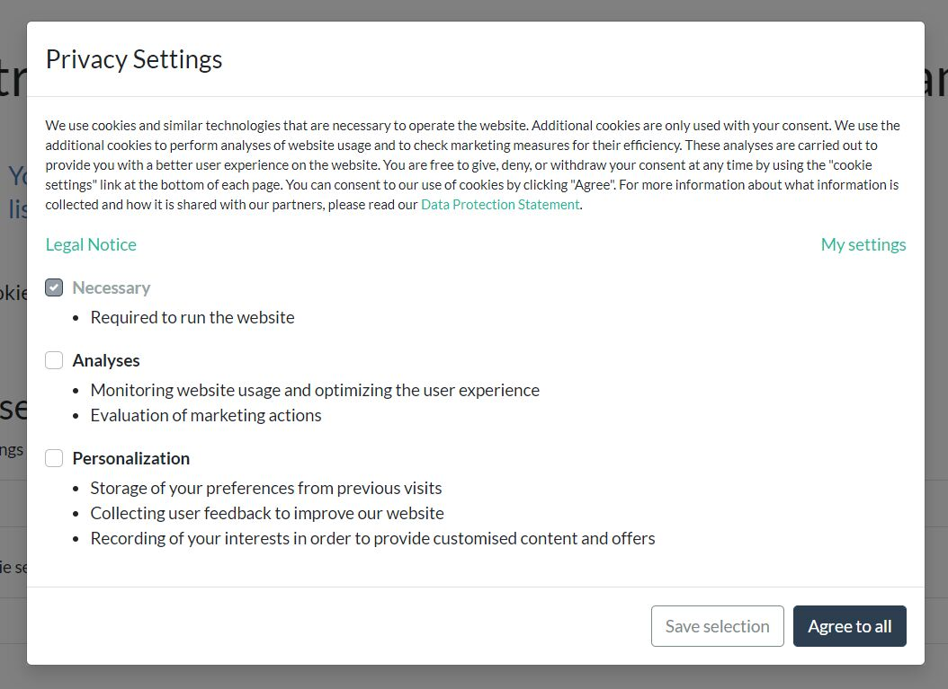 Cookie Consent Settings Modal With jQuery And Bootstrap