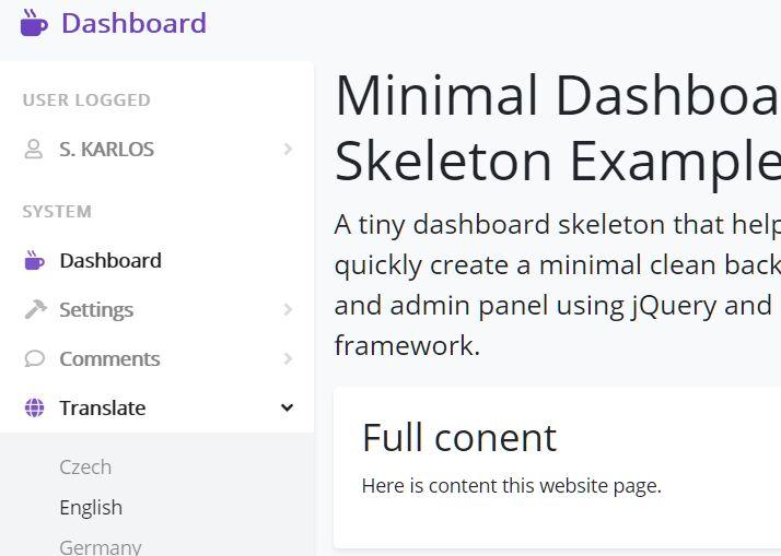 Minimal Dashboard Skeleton Based On Bootstrap 5/4