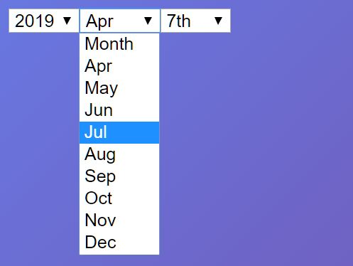 Fully Configurable Dropdown Date Picker Plugin With jQuery