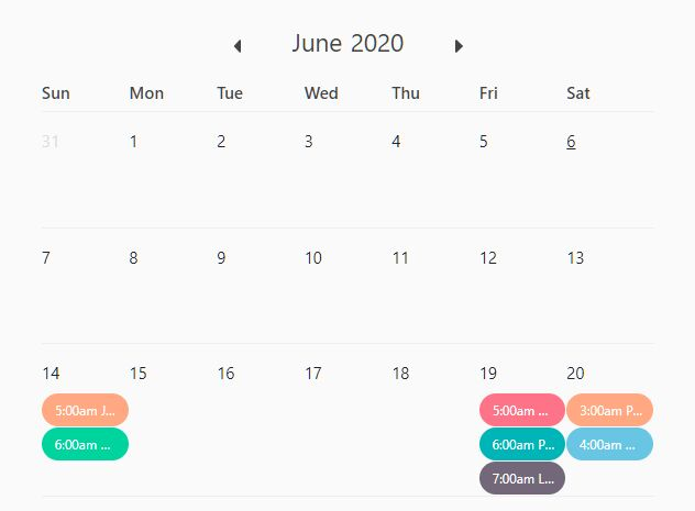 Dynamic Event Calendar For Bootstrap 4