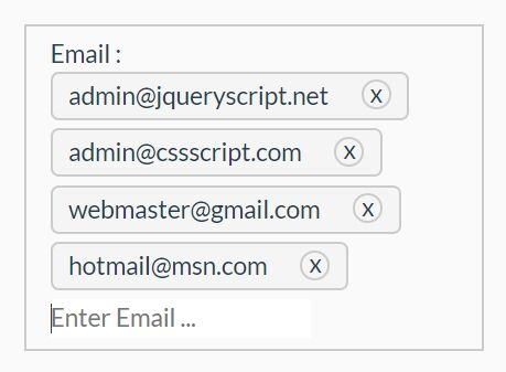 Insert Multiple Email Addresses Into An Text Field - jQuery email.multiple