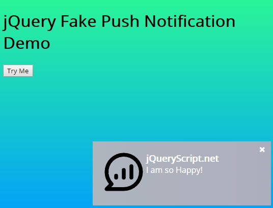 Browser Push Notification Style Alert Popup Plugin - jQuery Fake Push