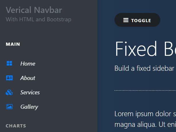 Fixed Bootstrap 4 Vertical Sidebar Navigation