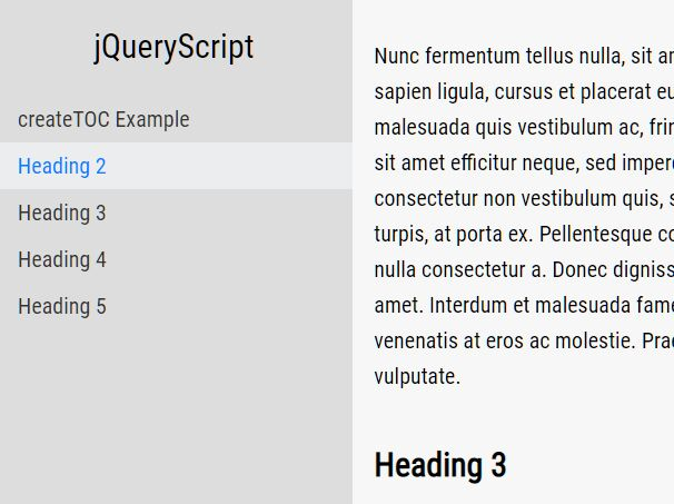 Easy jQuery TOC Generator With Smooth Scroll Support - Toc