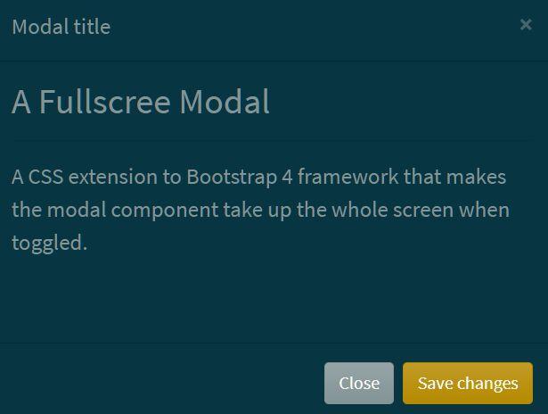 Full Screen Modal Dialog In Bootstrap 4