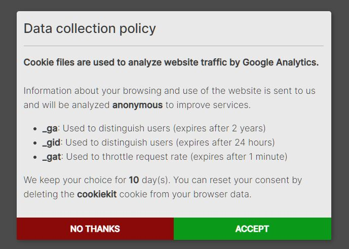 GDPR and Cookie Consent Modal for Google Analytics - jQuery CookieKit