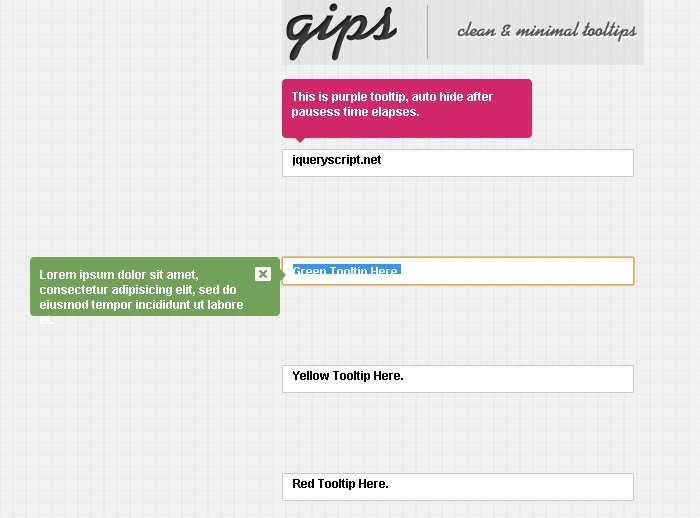 gips - Beautiful and Clean Tooltip Plugin