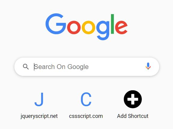 Chrome Startup Page Style Navigation - jQuery Google Nav