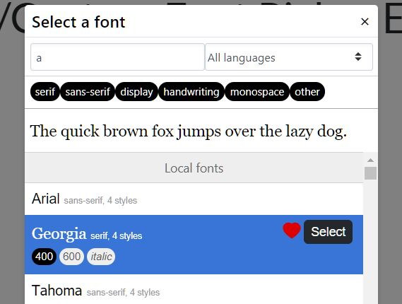 Select/Preview Google/System/Custom Fonts With Fontpicker Plugin