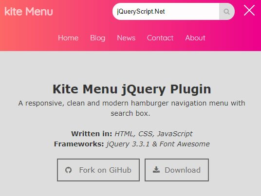 Mobile-friendly Hamburger Navigation With Search Field - jQuery Kite Menu