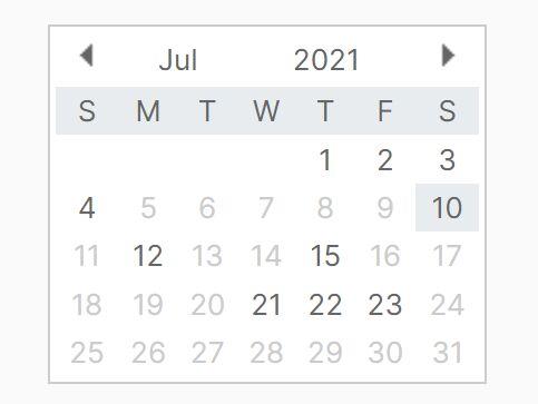 Tiny Calendar With Month View - jQuery huicalendar