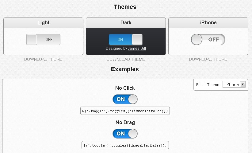 iPhone Like Toggle Button Plugin - jQuery toggles