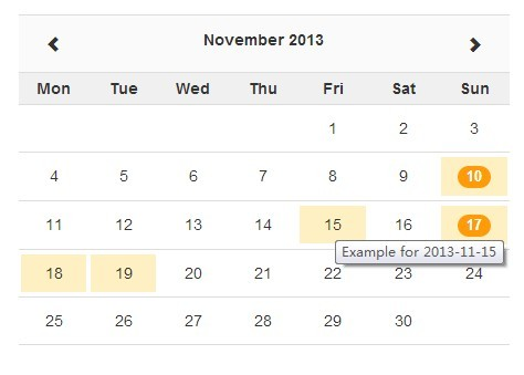jQuery Ajax-enabled Month Calendar Plugin with Bootstrap - Zabuto Calendar