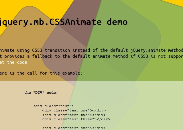jQuery Animated DOM Elements with CSS3 Transitions - CSSAnimate
