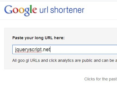 jQuery Based Long URL Shortener Using Google or Bitly API - shortify