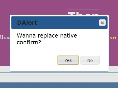 jQuery Based Native JavaScript Alert and Confirm Replacement - Dalert