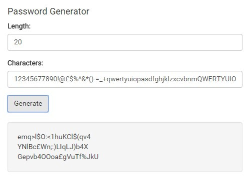 jQuery Based Strong Secure Password Generator