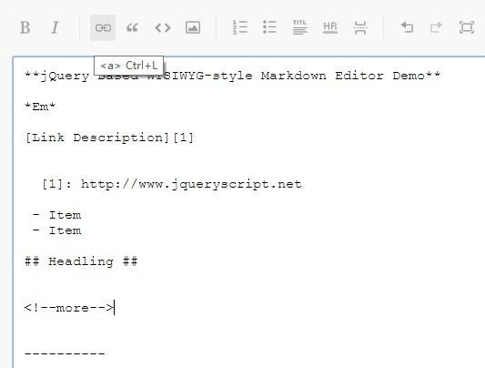 jQuery Based WYSIWYG-style Markdown Editor - Markdown