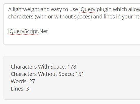 jQuery Based Word/Character/Line Counter For Text Box